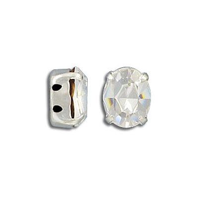 Mounted jewel, sew-on, 10x8mm, oval, crystal, silver plate