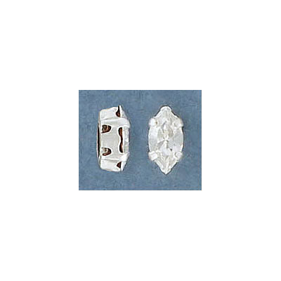 Sew-on mounted jewel, 8x4mm, navette, crystal, silver plate