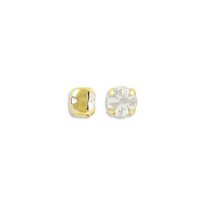 Sew-on mounted jewel, SS20, crystal clear, gold plate setting, approx. hole size 1mm