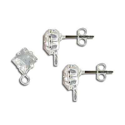 Preciosa earrings, 6x6mm, square crystal, silver plate, with loop