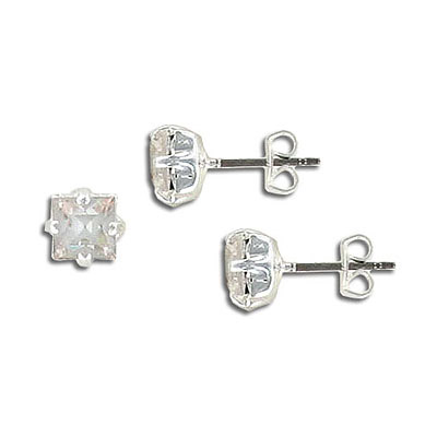 Preciosa earrings, 6x6mm, square crystal, silver plate, no loop