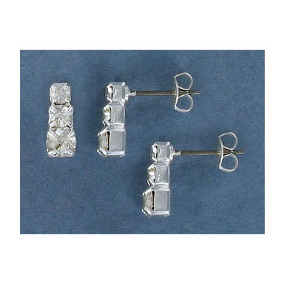 Rhinestone earrings, with 3 square cut crystals, silver plate