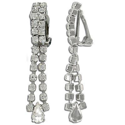 Rhinestone earrings, crystal/silver