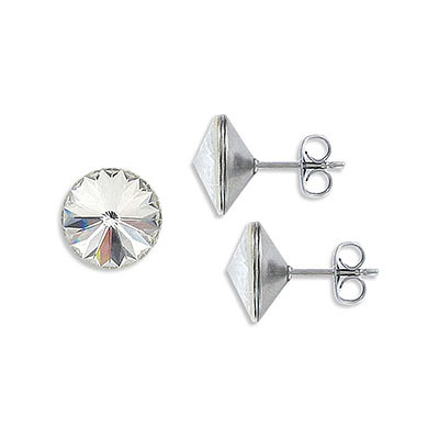 Swarovski earposts, rivoli chaton crystal SS47 size, crystal clear, stainless steel