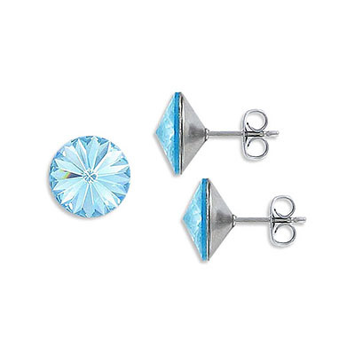 Swarovski earposts, rivoli chaton crystal SS47 size, aqua, stainless steel