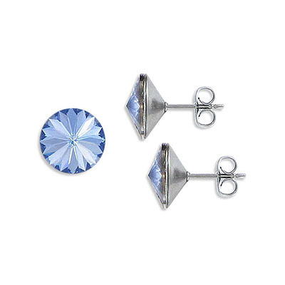Swarovski earposts, rivoli chaton crystal SS47 size, malibu, stainless steel