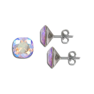Swarovski earposts, 10mm, square, light Colorado topaz, shimmer coating, stainless steel