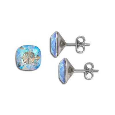 Swarovski earposts, 10mm, square, light sapphire, shimmer coating, stainless steel