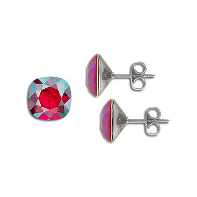 Swarovski earposts, 10mm, square, light siam, shimmer coating, stainless steel