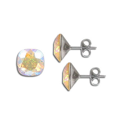 Swarovski earposts, 10mm, square, light topaz, shimmer coating, stainless steel