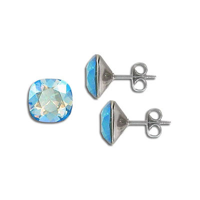 Swarovski earposts, 10mm, square, erinite, shimmer coating, stainless steel