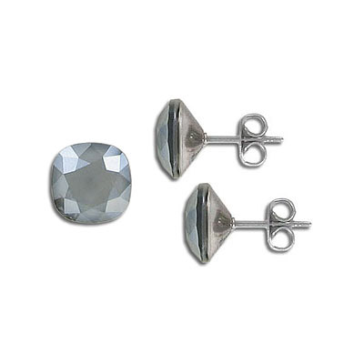 Swarovski earposts, 10mm, square, lacquer dark grey, stainless steel