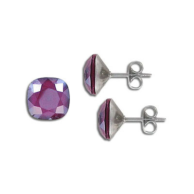 Swarovski earposts, 10mm, square, lacquer dark red, stainless steel