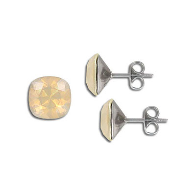 Swarovski earposts, 10mm, square, lacquer ivory cream, stainless steel