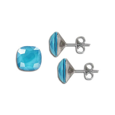 Swarovski earposts, 10mm, square, crystal azure blue, stainless steel