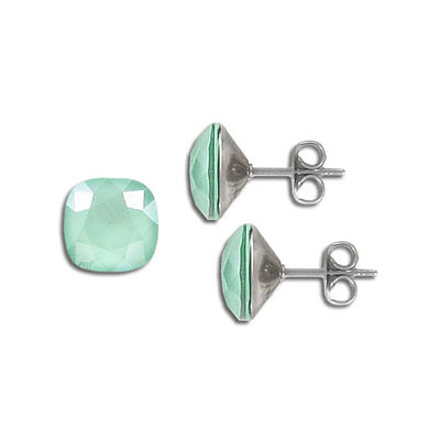 Swarovski earposts, 10mm, square, crystal mint green, stainless steel
