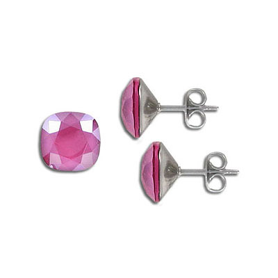 Swarovski earposts, 10mm, square, crystal peony pink, stainless steel