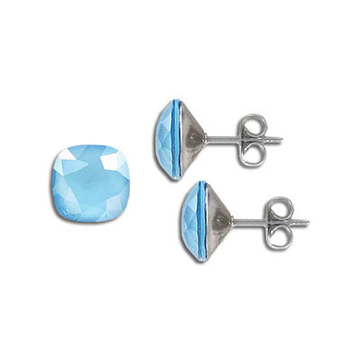 Swarovski earposts, 10mm, square, crystal summer blue, stainless steel
