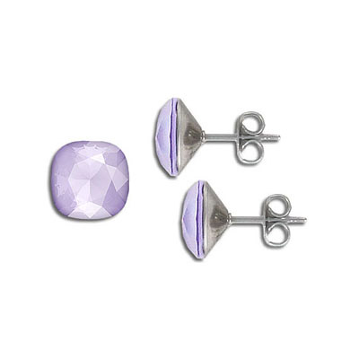 Swarovski earposts, 10mm, square, crystal lilac, stainless steel