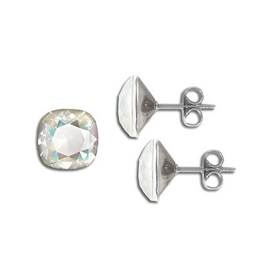 Swarovski earposts, 10mm, square, crystal light grey delight, stainless steel