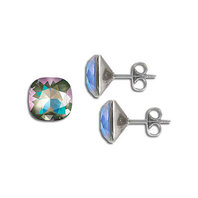 Swarovski earposts, 10mm, square, crystal army green delight, stainless steel