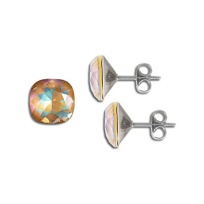 Swarovski earposts, 10mm, square, crystal ochre delight, stainless steel