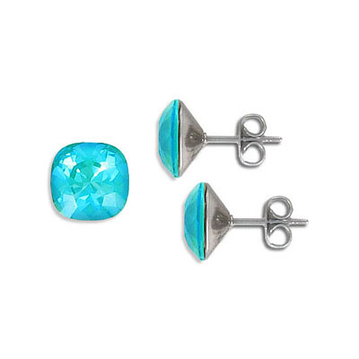 Swarovski earposts, 10mm, square, crystal laguna delight, stainless steel