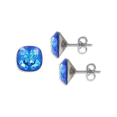 Swarovski earposts, 10mm, square, crystal royal blue delite, stainless steel