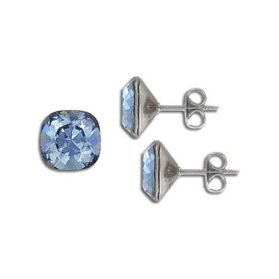Swarovski earposts, 10mm, square, denim blue, stainless steel