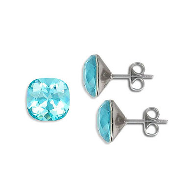 Swarovski earposts, 10mm, square, light turquoise, stainless steel