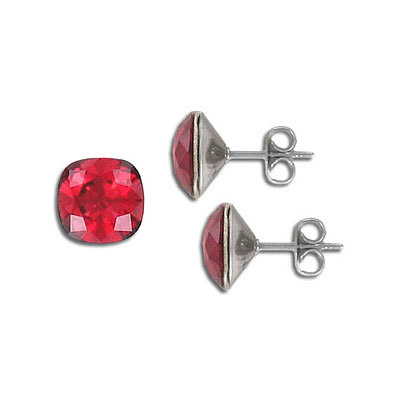 Swarovski earposts, 10mm, square, scarlet, stainless steel