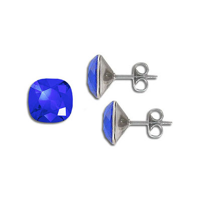 Swarovski earposts, 10mm, square, majestic blue, stainless steel