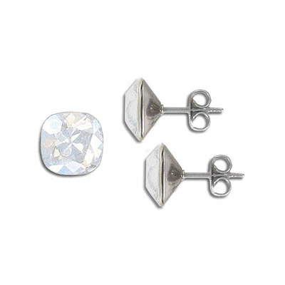 Swarovski earposts, 10mm, square, moonlight, stainless steel