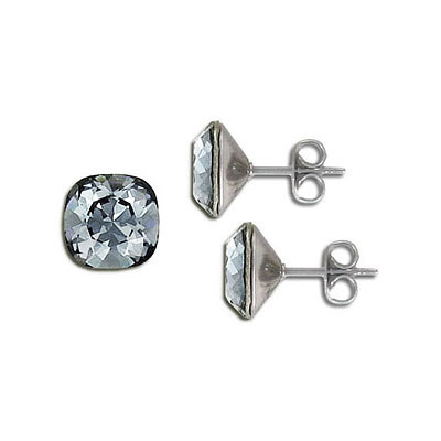 Swarovski earposts, 10mm, square, crystal silver night, stainless steel