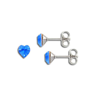 Swarovski earposts, 5mm heart, sapphire, stainless steel