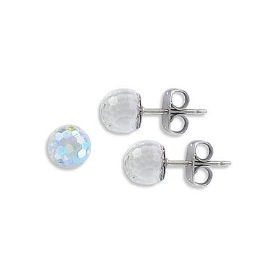 Swarovski earposts, 6mm, faceted ball, crystal AB/CAL Z coating, stainless steel