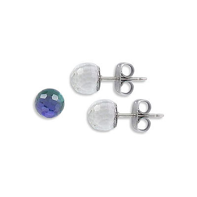 Swarovski earposts, 6mm, faceted ball, Heliotrope Z coating, stainless steel