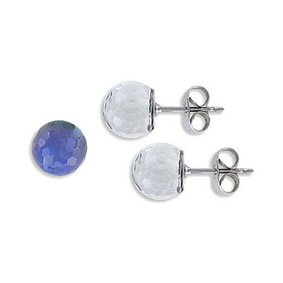 Swarovski earposts, 8mm, faceted ball, Heliotrope Z coating, stainless steel