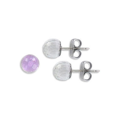 Swarovski earposts, 8mm, faceted ball, Vitrail Light Z coating, stainless steel