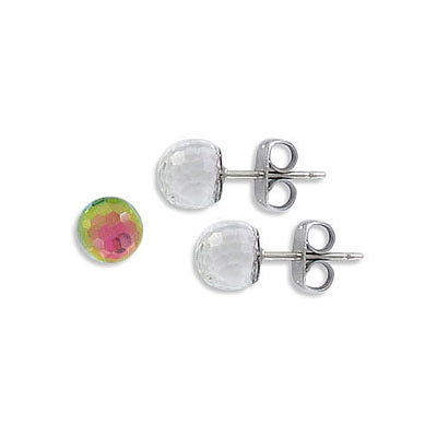 Swarovski earposts, 8mm, faceted ball, Vitrail Medium Z coating, stainless steel