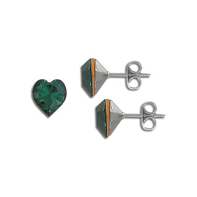 Swarovski earposts, 8mm, heart, emerald, stainless steel