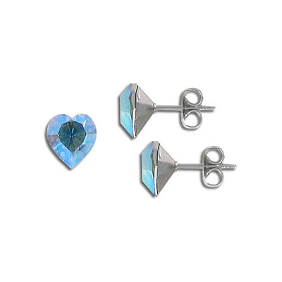 Swarovski earposts, 8mm, heart, crystal ab, stainless steel