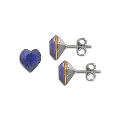 Swarovski earposts, 8mm, heart, heliotrope, stainless steel