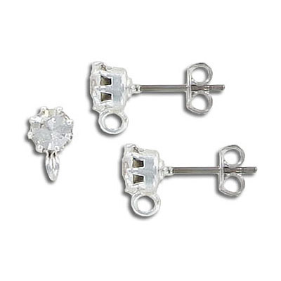 Swarovski earposts, SS29 size, with loop, crystal, rhodium plated titanium post