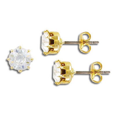 Swarovski earrings, ss29, crystal, gold plate