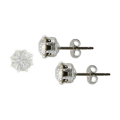 Swarovski titanium earposts, crystal color, ss29 size, no loop, rhodium plate