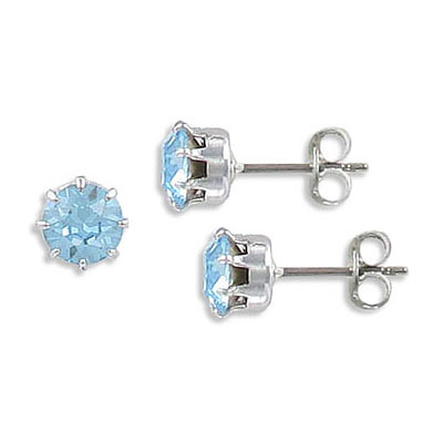 Swarovski earposts, SS29 size, aqua, March birthstone, titanium post, rhodium