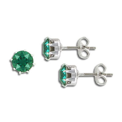 Swarovski titanium earposts, no loop, ss29, emerald, rhodium plate