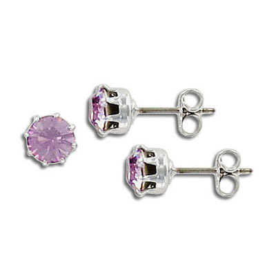 Swarovski titanium earposts, light amethyst color, ss29 size, no loop, rhodium plate
