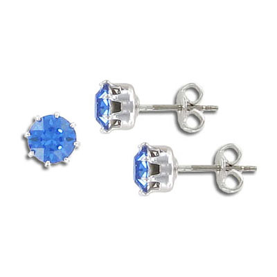Swarovski titanium earposts, sapphire color, ss29 size, no loop, rhodium plate